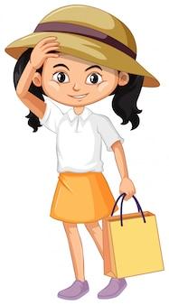 Uma garota feliz com sacola de compras