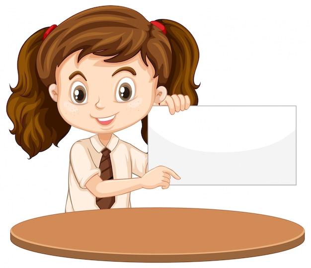Uma garota feliz com sinal em branco