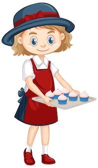 Uma garota feliz com tentativa de cupcakes