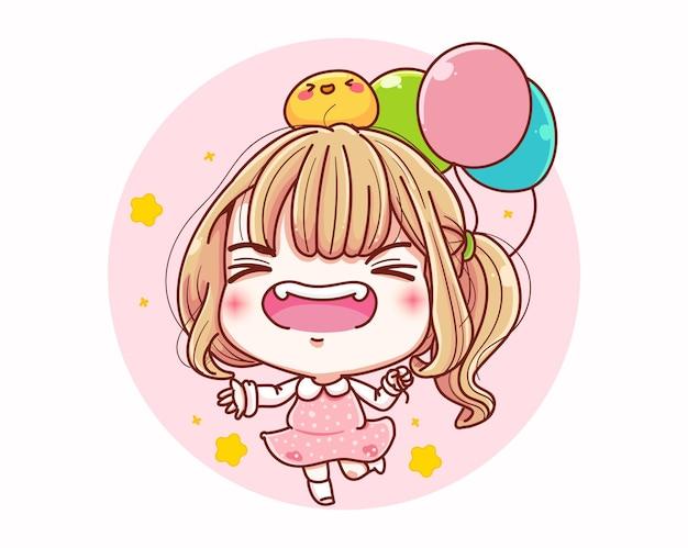 Uma garota feliz com um balão e desenho de personagem de desenho animado.
