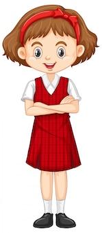 Uma garota feliz em uniforme vermelho