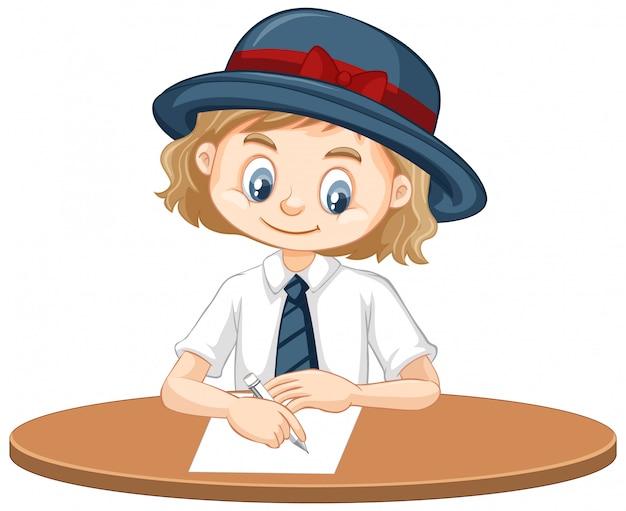 Uma garota feliz, escrevendo no papel