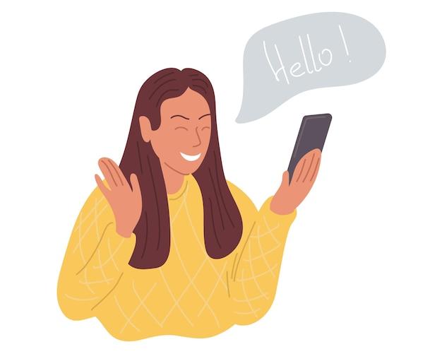 Uma garota feliz faz uma videochamada ao telefone e cumprimenta seu interlocutor. ilustração vetorial.