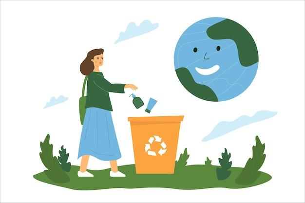 Uma garota joga garrafas plásticas em uma lixeira, um planeta sorridente acima dela, uma metáfora para a utilidade da reciclagem de plástico.