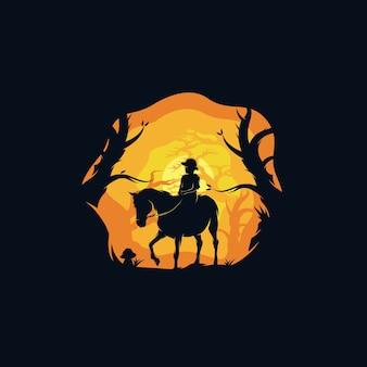 Uma garota montando um cavalo no logotipo da floresta à noite