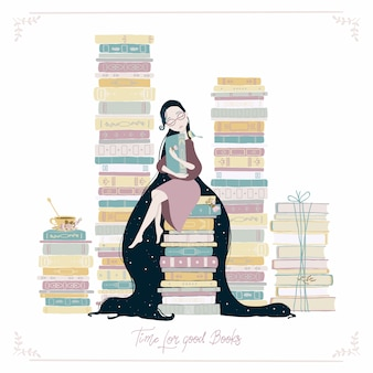 Uma garota, muitos livros, um pássaro e uma xícara de chá. vintage bonito infantil ilustração desenhados à mão em estilo cartoon simples em tons pastel