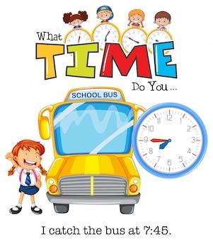 Uma garota pegar o ônibus às 7:75