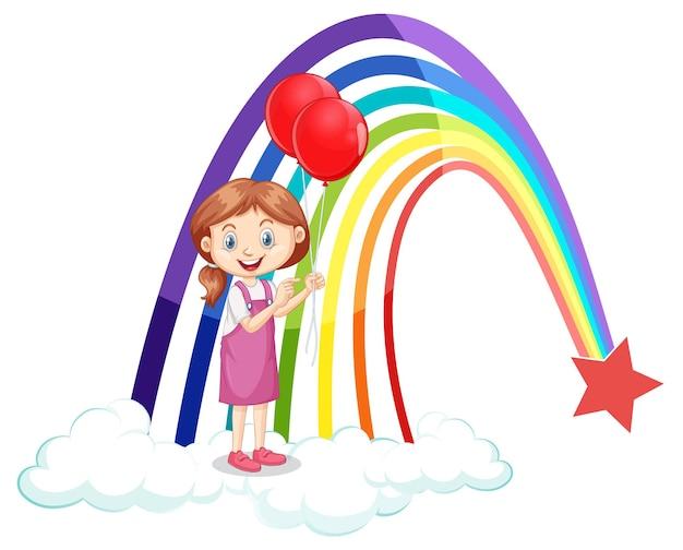 Uma garota segurando balões com arco-íris