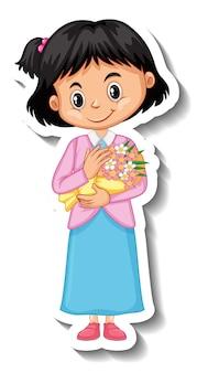 Uma garota segurando um buquê de flores adesivo de personagem de desenho animado