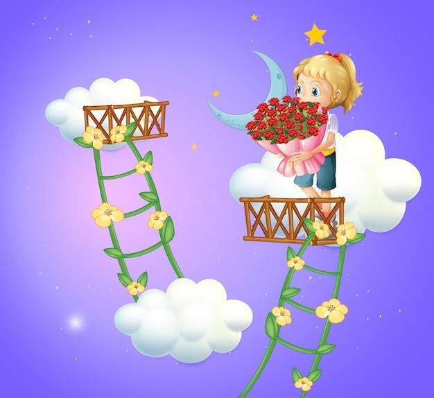 Uma garota segurando um buquê de rosas