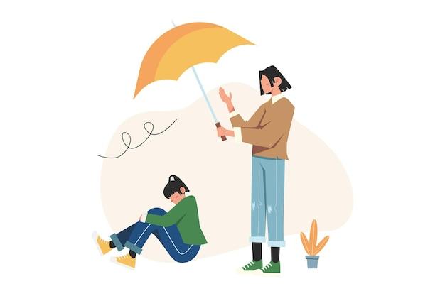 Uma garota segurando um guarda-chuva para outra em estado de depressão