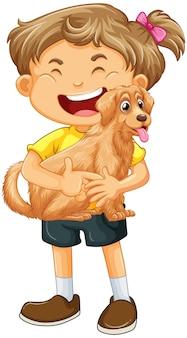 Uma garota segurando um personagem de desenho animado de cachorro bonito isolado no fundo branco