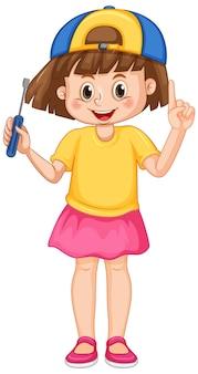 Uma garota segurando uma chave de fenda no fundo branco