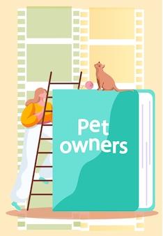 Uma garota subindo as escadas até o gato sentado em um grande livro sobre donos de animais de estimação
