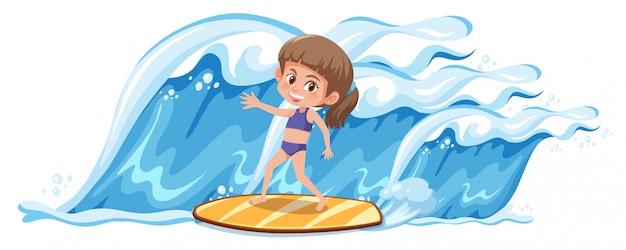 Uma garota surfando a grande onda