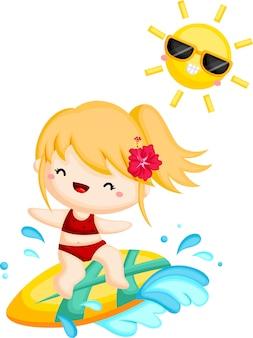 Uma garota surfando a onda em um dia ensolarado