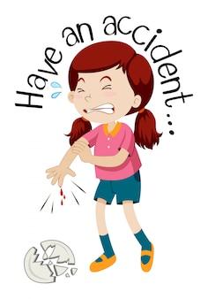 Uma garota tendo um acidente