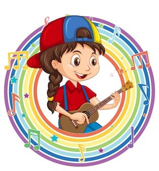 Uma garota tocando guitarra em uma moldura redonda do arco-íris com símbolos de melodia