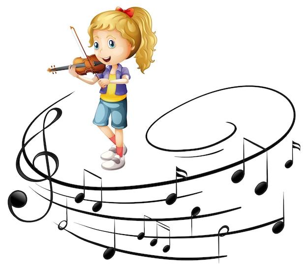 Uma garota tocando um personagem de desenho animado de violino com símbolos de melodia