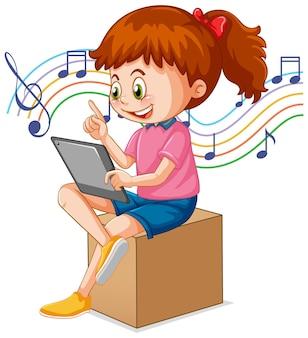 Uma garota usando tablet para ensino à distância online