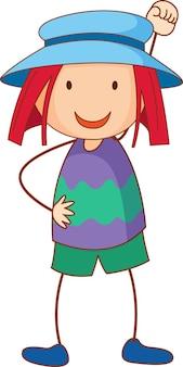 Uma garota usando um chapéu de personagem de desenho animado desenhado à mão estilo doodle