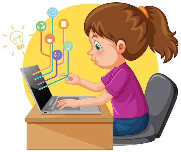 Uma garota usando um laptop para ensino à distância online