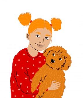 Uma garotinha abraça seu amado animal de estimação, aquele poodle fofo. clínica de cuidado de animais domésticos. a menina com rabos de cavalo prende um cão, amor para animais. ilustração isolado.