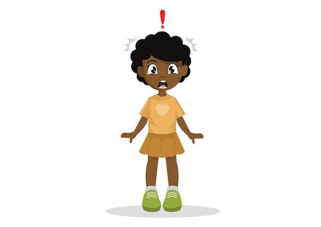 Uma garotinha africana chocada.