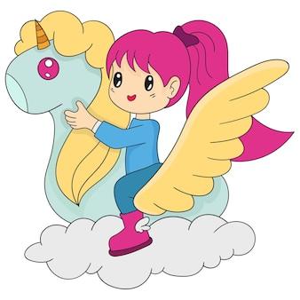 Uma garotinha está montando um unicórnio em um mundo de sonho