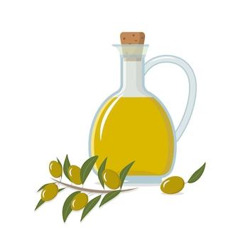 Uma garrafa de azeite de oliva um galho e azeitonas para criar embalagens de papel de publicidade de decoração