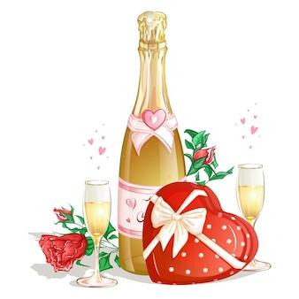 Uma garrafa de champanhe com uma caixa de chocolates, duas taças de vinho e rosas vermelhas.