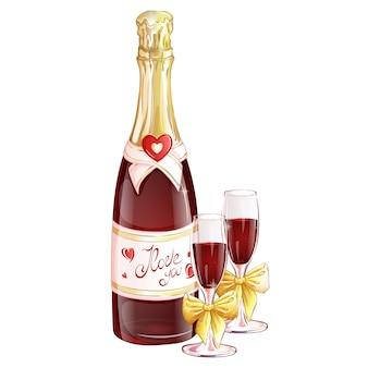 Uma garrafa de champanhe vermelha com duas taças decoradas com laços dourados.
