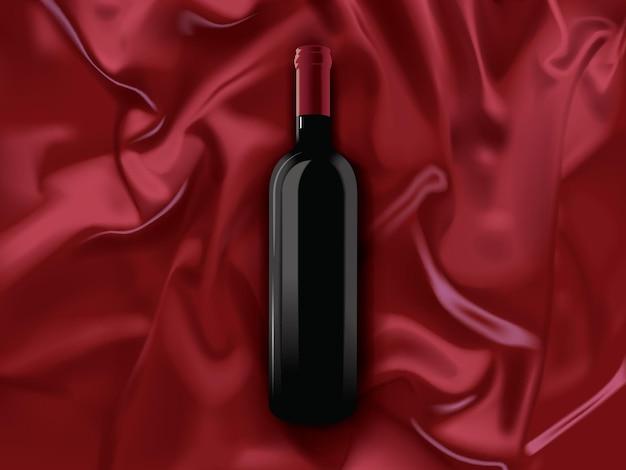 Uma garrafa de vinho tinto em um fundo de seda
