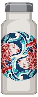 Uma garrafa térmica branca com padrão de carpa koi