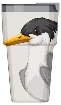 Uma garrafa térmica branca com padrão de pássaro