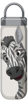 Uma garrafa térmica branca com padrão zebra