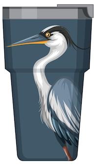 Uma garrafa térmica com padrão de pelicano azul