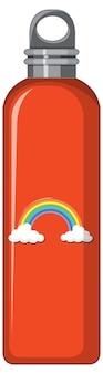 Uma garrafa térmica laranja com padrão de arco-íris