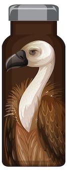 Uma garrafa térmica marrom com padrão de abutre