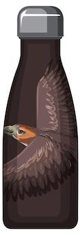 Uma garrafa térmica marrom com padrão de falcão