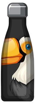 Uma garrafa térmica preta com padrão de pássaro tucano