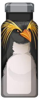 Uma garrafa térmica preta com padrão de pinguim