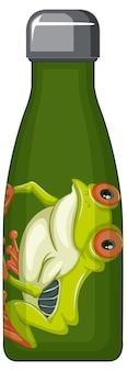 Uma garrafa térmica verde com padrão de sapo