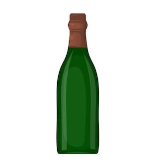Uma garrafa verde de vinho em um fundo branco. estilo dos desenhos animados. o assunto da mesa festiva. elemento para o seu design. ilustração vetorial de estoque