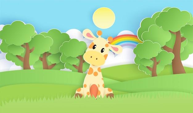 Uma girafa na floresta.