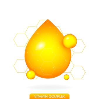 Uma gota de vitamina dourada no fundo branco objeto realista fundo isolado