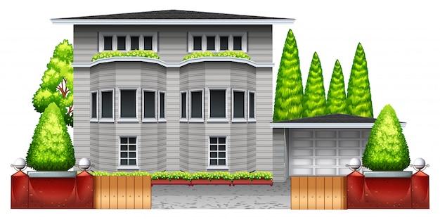 Uma grande casa cinza