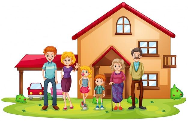 Uma grande família na frente de uma casa grande