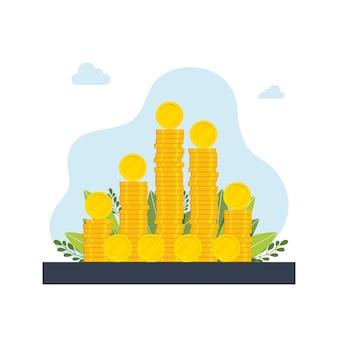 Uma grande pilha de moedas de ouro, dinheiro. pilhas, colunas, moedas. conceito de multiplicação de dinheiro, riqueza, ilustração vetorial, design moderno de imagem de dinheiro.