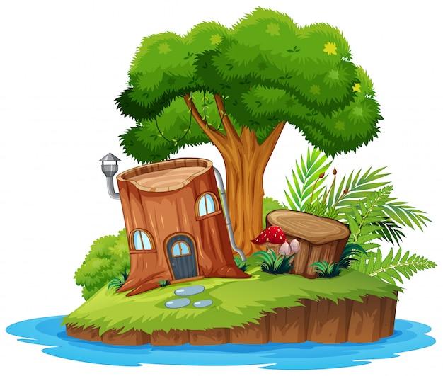 Uma ilha de árvore da natureza